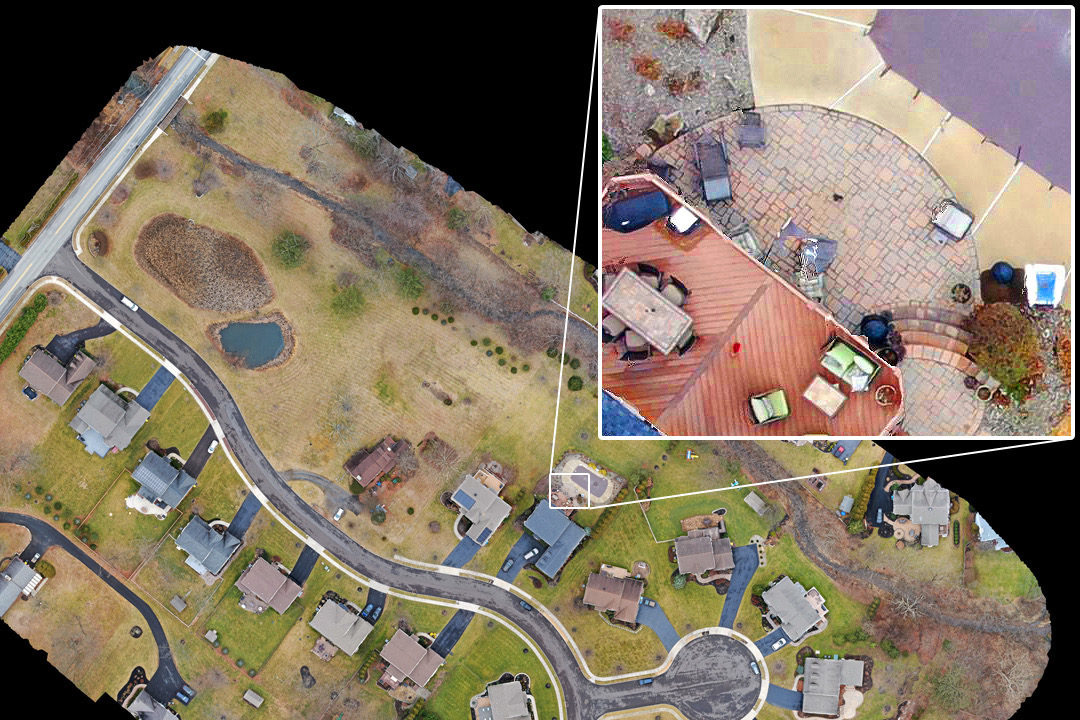 Aerial photogrammetry of Neighborhood with detail inset